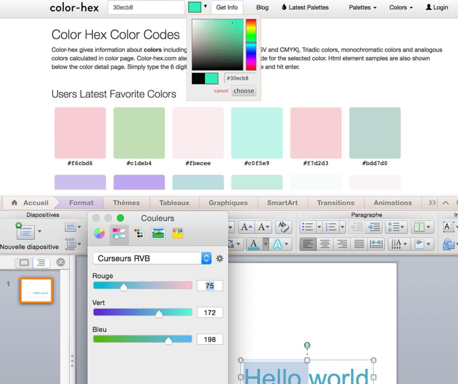 Deux manières de choisir les couleurs : avec les codes hexadécimaux ou avec les codes RGB