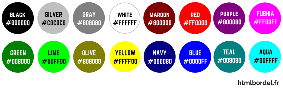 couleurs css